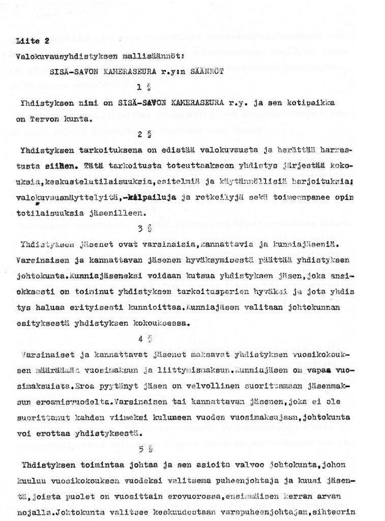 Kameraseuran säännöt sivu 1